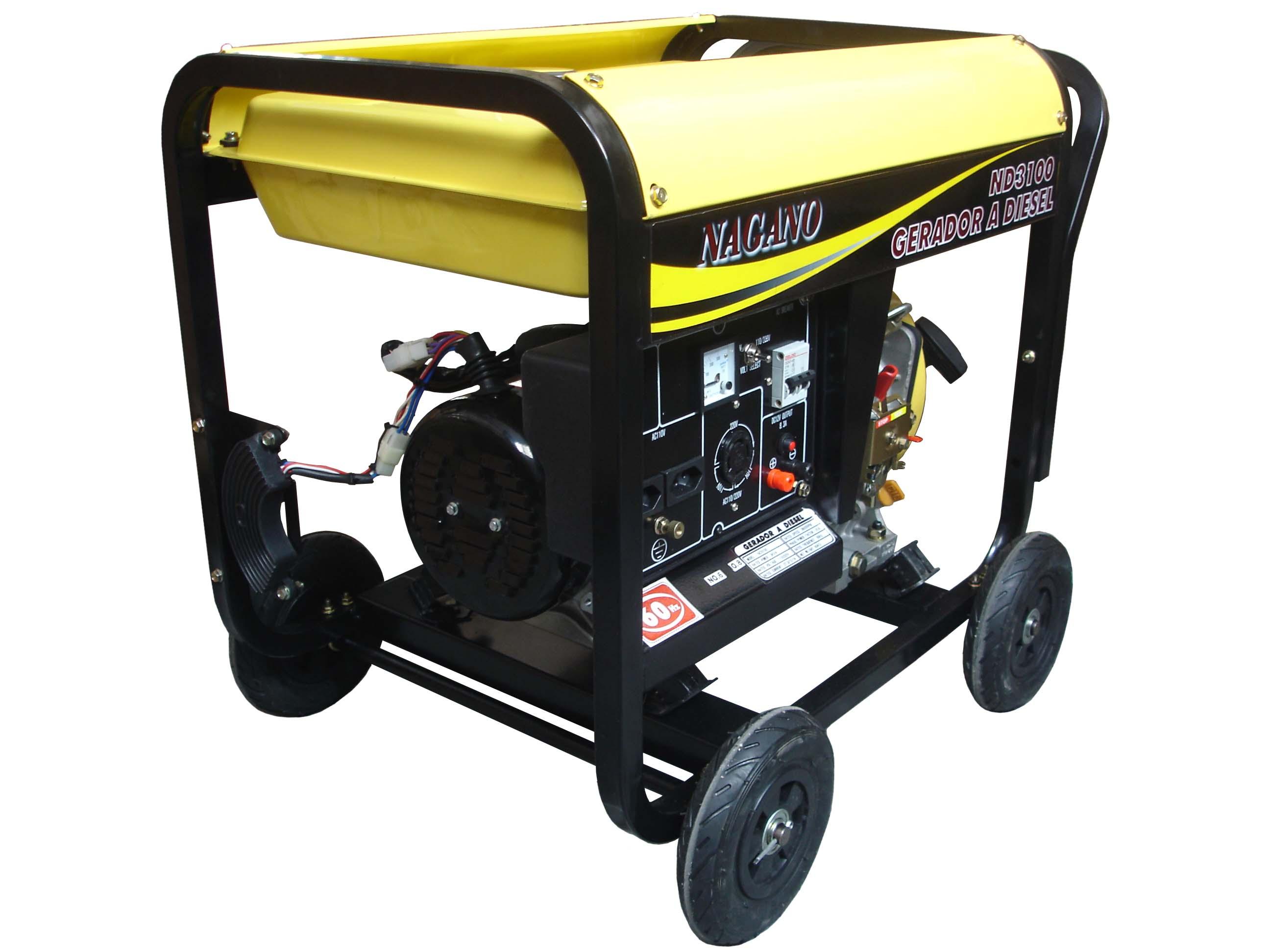 bb3ab1b06ad Nagano Máquinas - Gerador de energia a Diesel Monofásico 3 KVA - Partida  Manual - ND3100