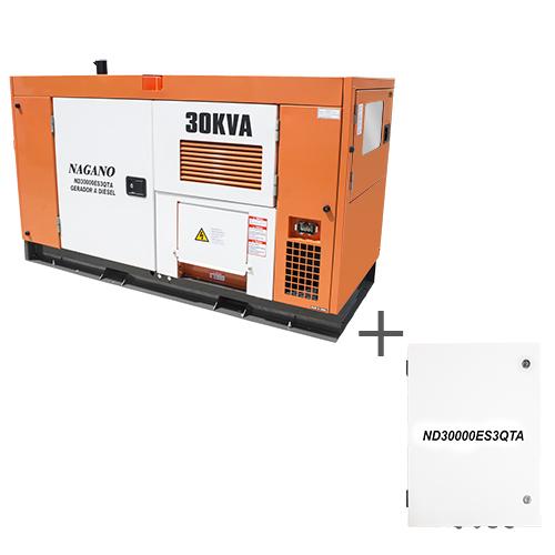 e7bf47343c6 Nagano Máquinas - Gerador de energia a Diesel Trifásico 30 kVA partida  elétrica silenciado cabinado c  QTA Nagano - ND30000ES3QTA Fora de Linha
