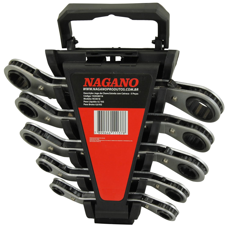 Nagano Máquinas - Chave Estrela 5 Peças Catraca - NC0618 fc13930d32